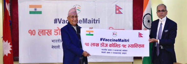 India gives 1 million doses of Covid-19 vaccine to Nepal