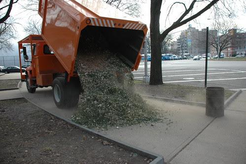 Finished Mulch Dump Action Shot