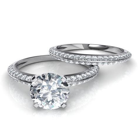 Knife Edge Pavé Engagement Ring & Wedding Band Bridal Set