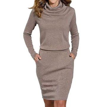 Women's Turtle Neck Dress High Collar Long Sleeve Bodycon Dresses