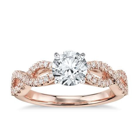 Infinity Twist Micropavé Diamond Engagement Ring in 14K