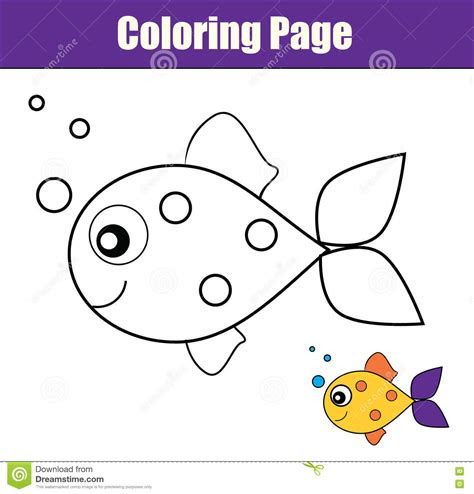 coloring page  fish educational game printable
