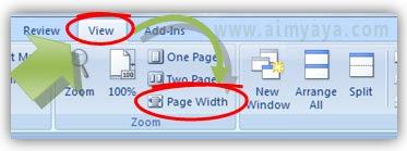 Gambar: cara membuat tampilan sesuai lebar halaman  di microsoft word