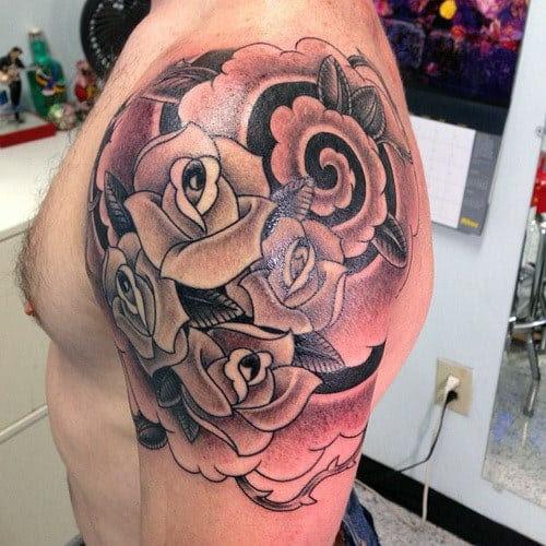 Homens Rose Tattoos Para Ombro
