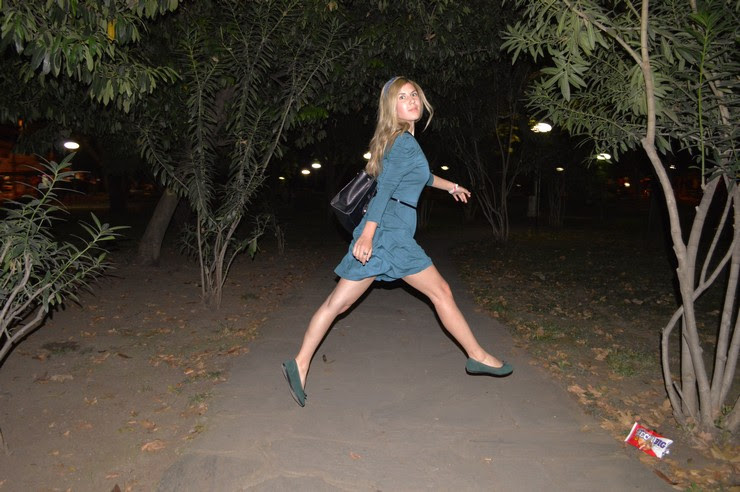 blue dress green flats