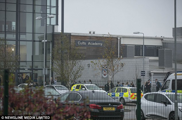 Injury: A pupil at Cults Academy, pictured, has reportedly died after an incident at the school in Aberdeen
