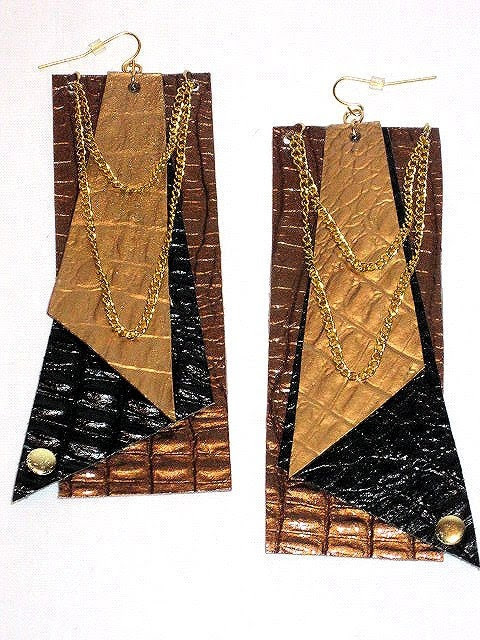 Mixed Leather and Chain-link Earrings
