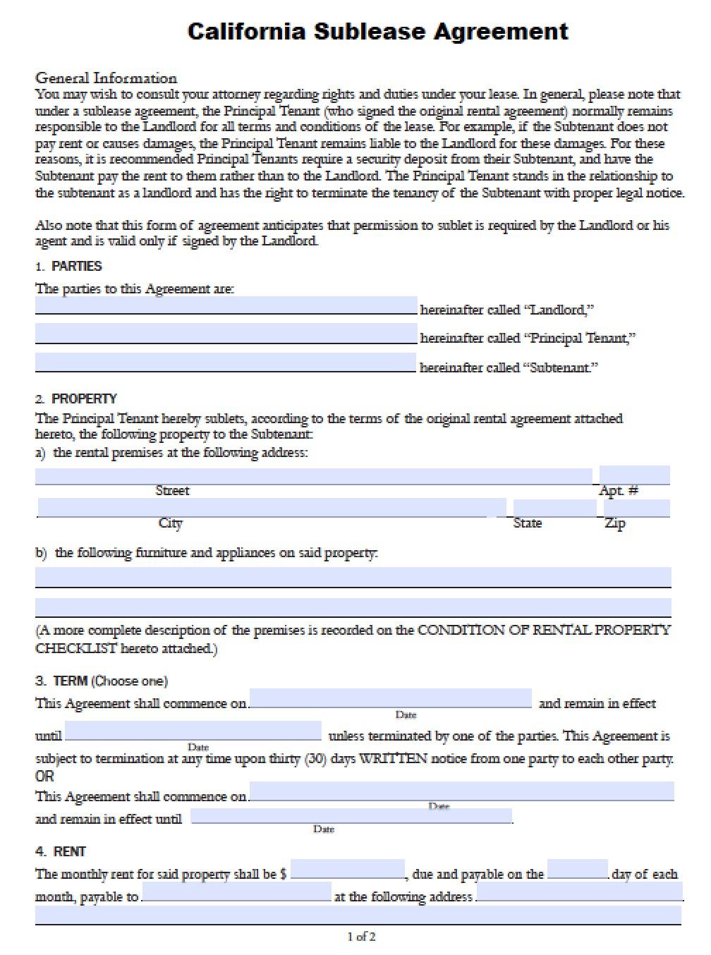 california sublease agreement version 2