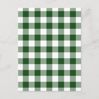 Green and White Gingham Pattern Postcards