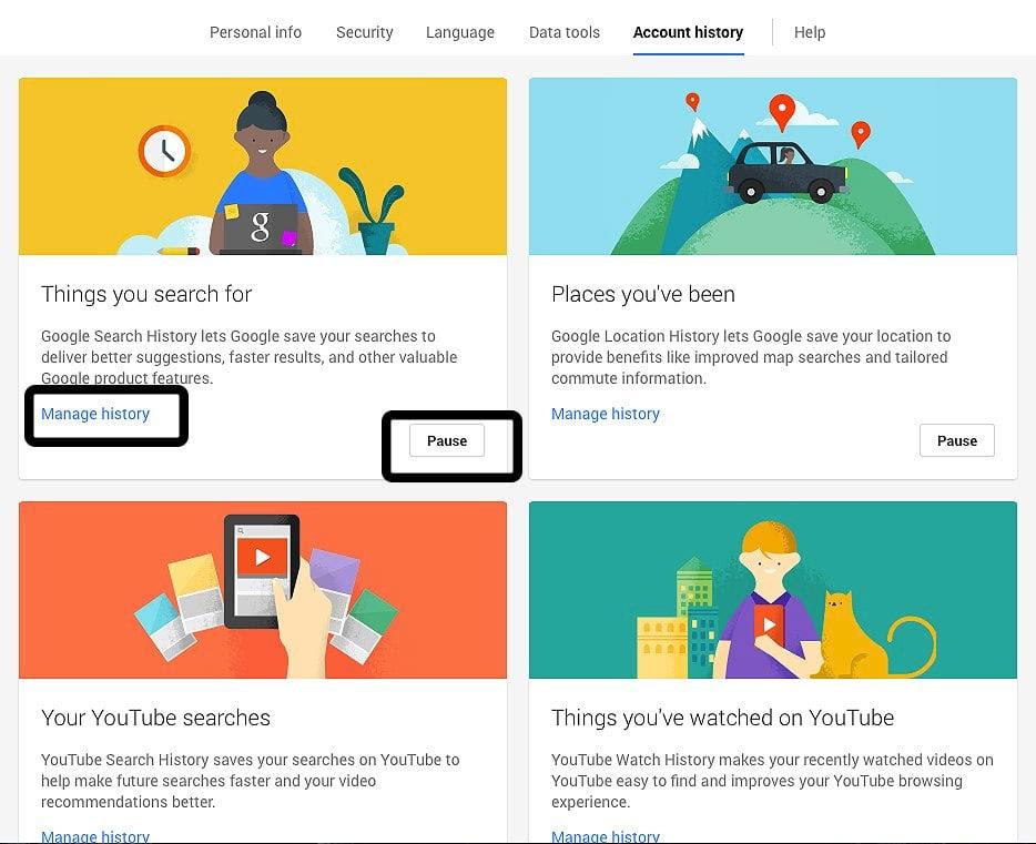 """Πατώντας """"pause"""" ή """"manage"""" αποκτάτε τον έλεγχο των στοιχείων που καταγράφει η Google για εσάς"""