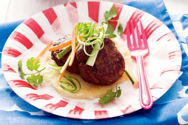 Thai Turkey Patties On Crispy Noodles Recipe - Taste.com.au