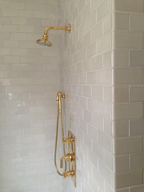 Light Gray Subway Tiles - Transitional - bathroom ...