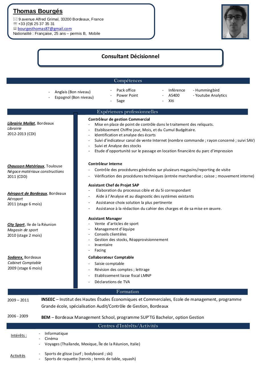 resume format  mod u00e8le cv consultant