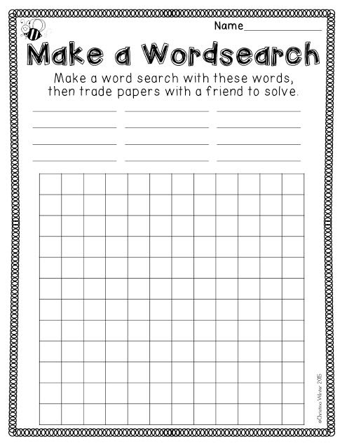 Spelling Activities {a Freebie} - Make a Wordsearch printable ...