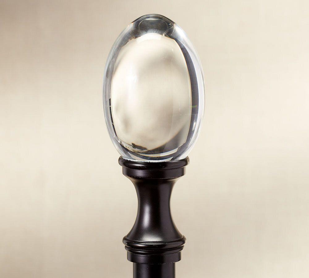 Pb Standard Glass Oval Finial Drape Rod Antique Bronze Finish