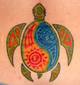 Black Tribal Yin Yang Turtle Tattoo