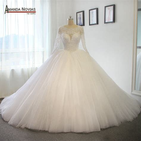 Long Train Wedding Dress Luxury Puffy Ball Gown Princess