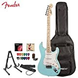 Squier by Fender Daphne Blue Electric Guitar with Stand, Strap, Strings, Gig Bag, Tuner, Picks and Online Lesson...