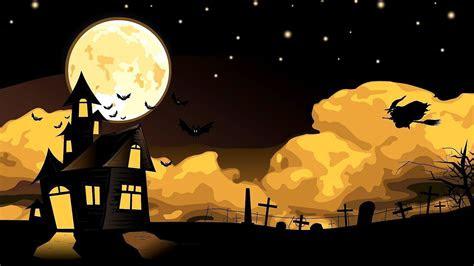 scary halloween night witch  bats   dark sky