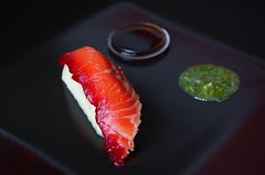 Beetroot, Pear, Lime and Vanilla:  Nigiri Sushi style© by Haalo