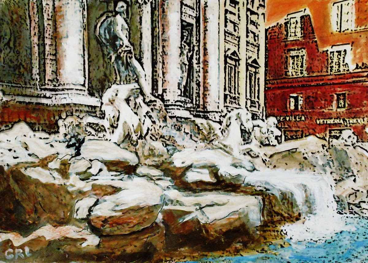 Rome Trevi Fountain Original Multimedia Fine Art Painting. $320, 15x10; $20 to $30, medium-size prints, free downloads. One of the most famous fountains in the world. Multimedia classical traditional modern acrylic oil paintings. GrlFineArt art fineart painting, room decor, paintings, prints, landscapes, seascapes, boats, figures...