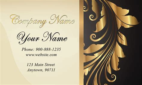 Gold and Black Wedding Business Card   Design #701181