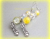 Yellow You are my HERO Childhood Cancer Inspirational Earrings