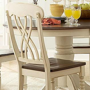 Oxford Creek 5pcs Antique White Round Dining Table Set - Furniture
