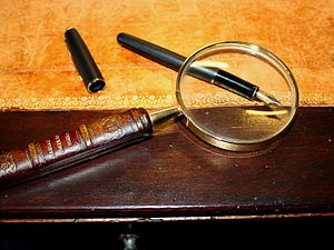 magnifying glass on an 17th century table
