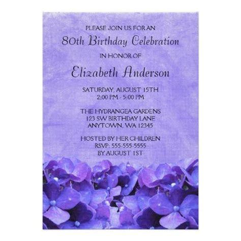 Purple Hydrangeas 80th Birthday Party Invitations   80