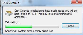 disk cleanup begin