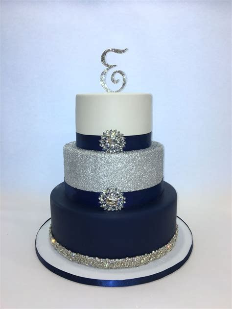 Navy Blue, Silver and White 3 tier sweet 16 Cake   Cakes