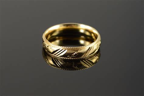 14K Beautiful Carved Engraved Fancy Wedding Band Men's