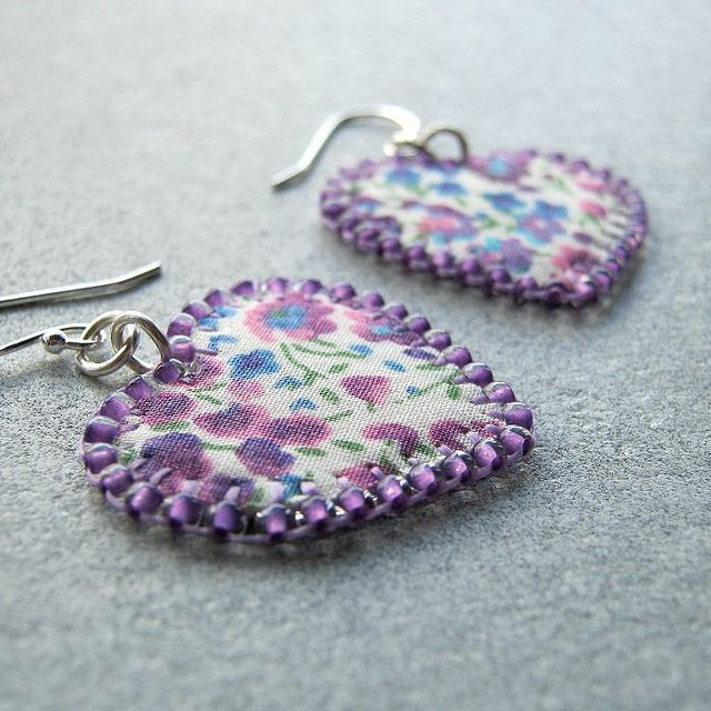 Fabric and seed bead earrings