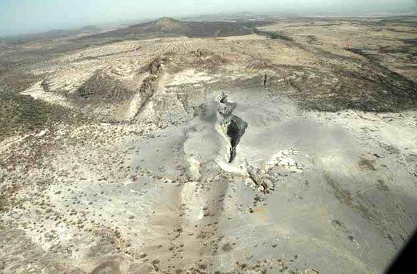 A giant crack in the Ethiopian desert.