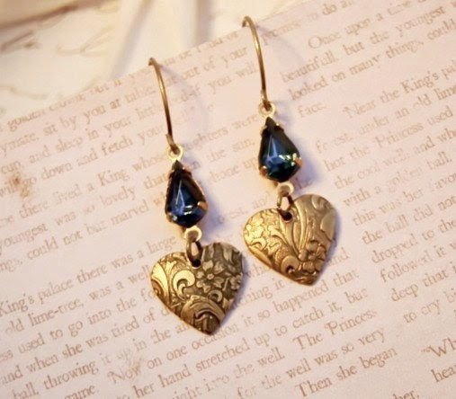 Boho Chic Sapphire Blue Rhinestone Jewel & Embossed Heart Earrings by Alyssabeths