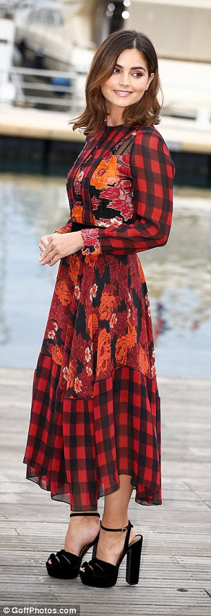 Her Royal Highness! The British actress, 30, turned heads in a red checked ankle-length dress