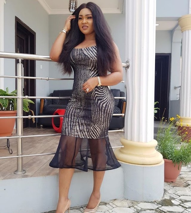"""""""Mercy"""" Aigbe Suffers Photoshop Fail As Her Hip Makes Pillar Bend"""