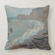 Boats on the Beach, Claude Monet throwpillow