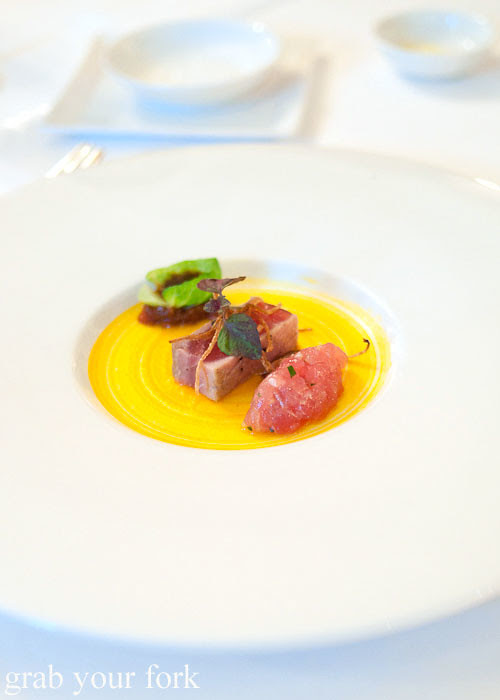seared yellow fin tuna at the langham galileo restaurant sydney