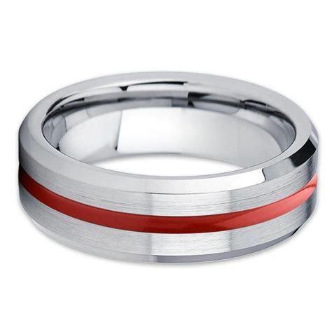 Red Tungsten Wedding Band   7mm   Silver Tungsten Ring