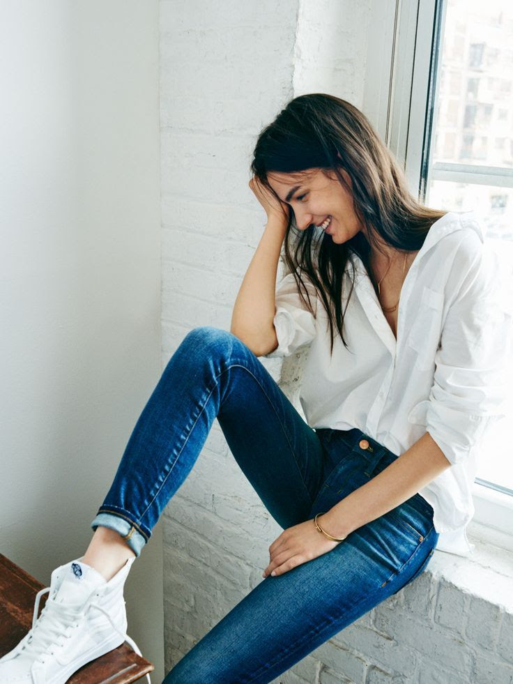 Le Fashion Blog Casual Weekend Style Button Up Skinny Jeans White Vans High Top Sneakers Via Madewell Jewelry photo Le-Fashion-Blog-Casual-Weekend-Style-Button-Up-Skinny-Jeans-White-Vans-High-Top-Sneakers-Via-Madewell.jpg
