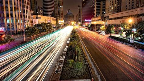 busy road  shanghai  night wallpaper city