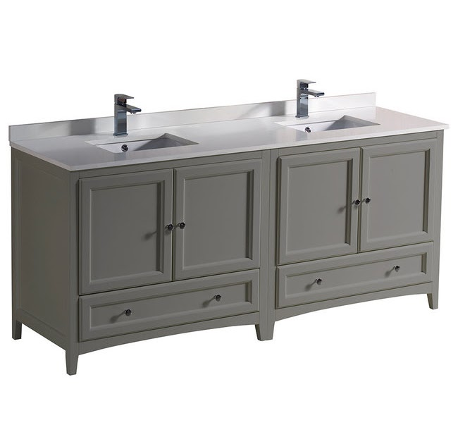 """BEST HOUZZ Oxford 72"""" Gray Traditional Double Sink ..."""
