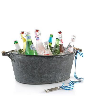 Buckets with drinks and an attached bottle opener