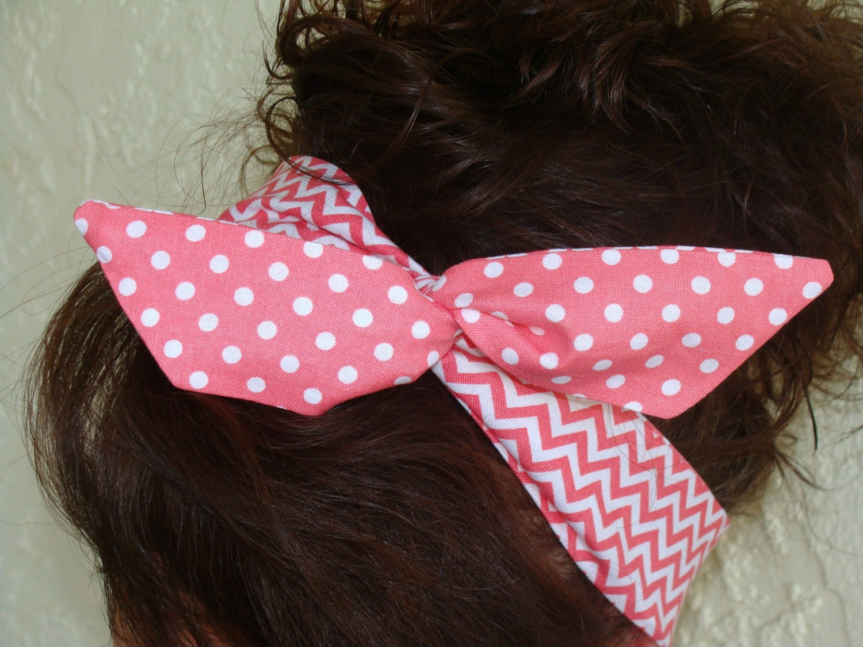 Dolly Bow, Reversible Deep Pink Chevron and Polka Dot Rockabilly Wire Headband Teen