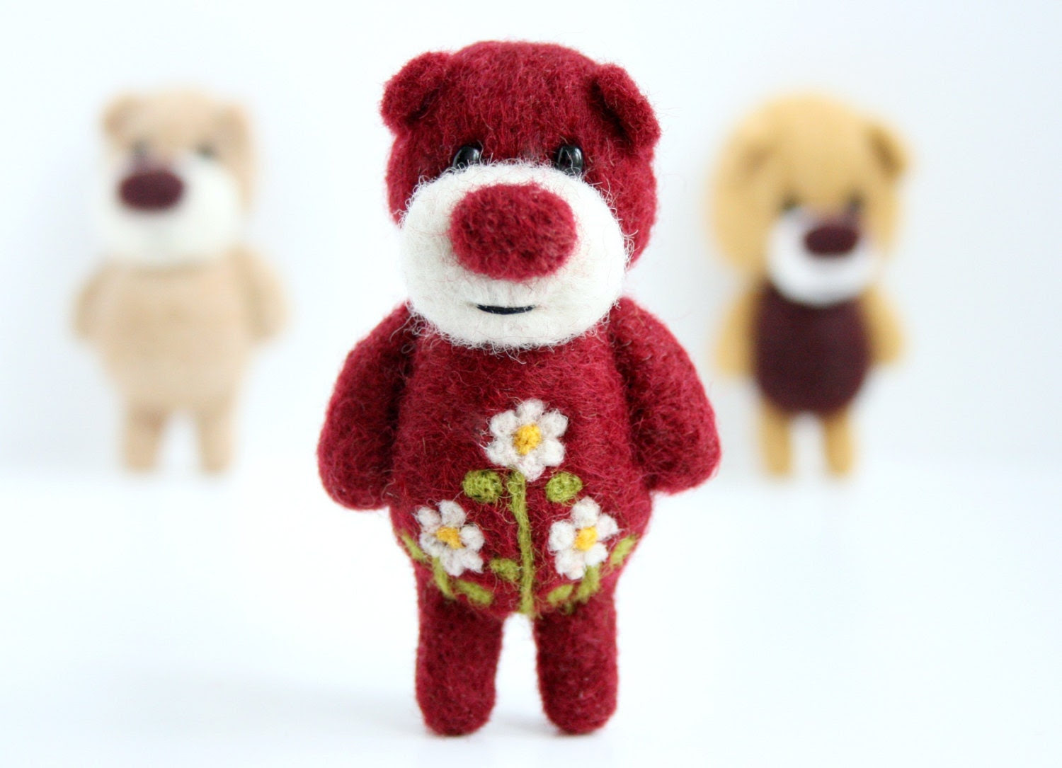 Burgundy oxblood red pocket bear with cammomiles - unpetitours