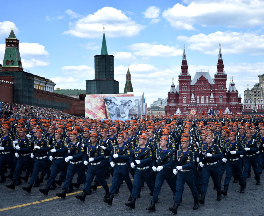 Russian soldiers march at the Red Square during the Victory Day military parade
