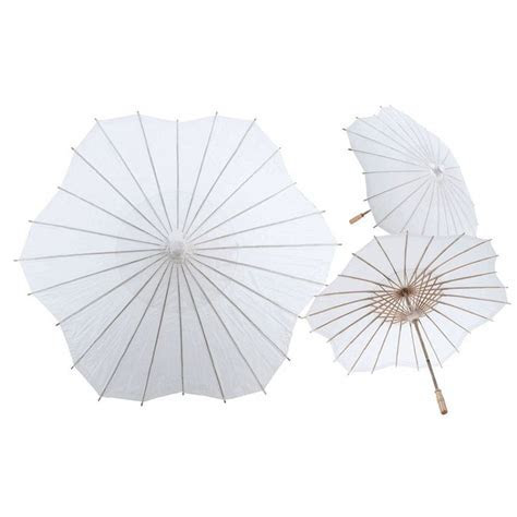 32 White Scalloped Shaped Paper Parasol [247 XL9155 WH