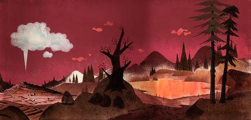 """Yellowstone"" Illustration (by Milt Banta?) 1957"